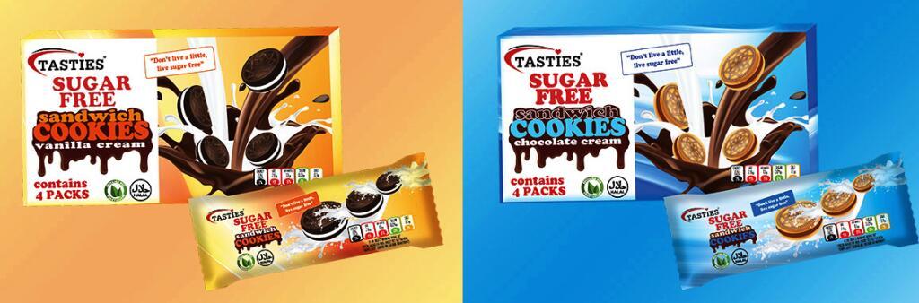9 x Tasties Sugar Free Sandwich Cookies Chocolate Cream 176g Packs (Total 144 biscuits) £7.00 CHOCOLATE or VANILLA CREAM @ Yankee Bundles
