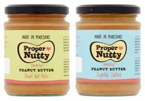 Proper Nutty Nowt But Nuts or Slightly Salted Peanut Butter (280G) - £1.49 (Clubcard price) @ Tesco
