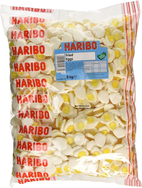 3kg of Haribo Fried Eggs Bulk Sweet Bag 3000g - Soft Jelly Sweets £11.20 / £9.61 s&s (+£4.49 p&p non prime) @ Amazon