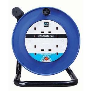 Masterplug 4 Socket Thermal Cut-Out Open Cable Reel - Blue 30m 10A £22 @ Wickes Free click and collect