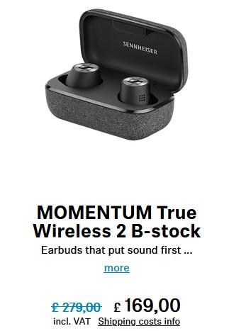 Sennheiser MOMENTUM True Wireless 2 Earbuds, B-stock - Black £169.99 at Sennheiser Shop
