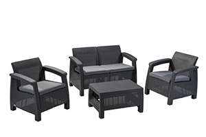 Keter Corfu Outdoor 4 Seater Rattan Sofa Furniture Set with Accent Table - Graphite with Grey Cushions £243.36 @ Amazon
