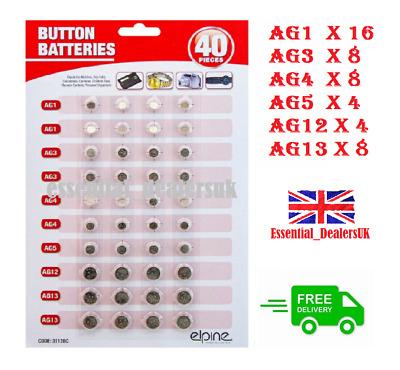 40x Various Button Cell Batteries - £1.75 @ essential_dealersuk / eBay