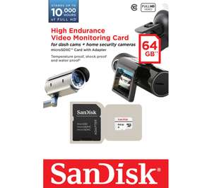 SANDISK High Endurance Video Monitoring Class 10 MicroSDXC Memory Card - 64 GB £11.97 Currys PC World