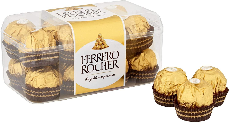 Ferrero Rocher Chocolate Gift Box Sweets Hazelnut & Milk Chocolate Pralines 5x16, 80 Pieces £15.70 (+£4.49 nonPrime) Amazon