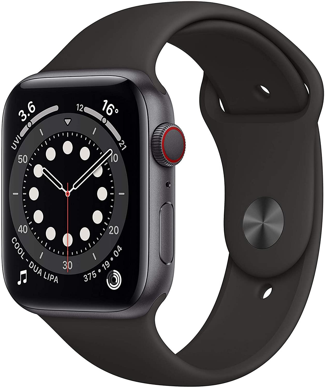 Apple Watch Series 6 GPS + Cellular, 44mm Space Grey Aluminium Case with Black Sport Band - Regular £409 Amazon
