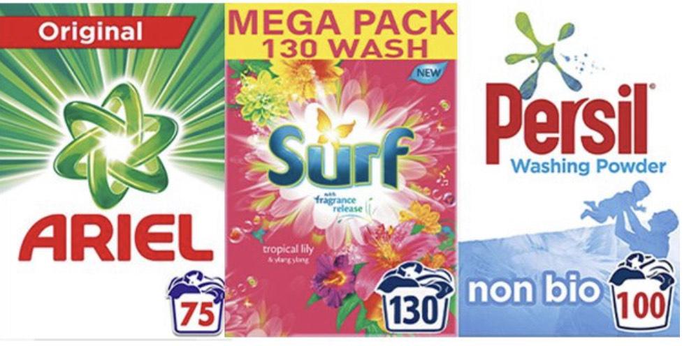 75w Ariel / 130w Surf / 100w Persil Mix Any 2 for £20 @ FarmFoods