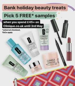 Clinique - Choose 5 Free Samples on £45+ Orders @ Clinique