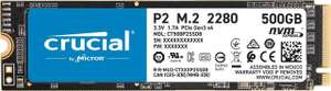 Crucial P2 CT500P2SSD8 500 GB Internal SSD, Up to 2400 MB/s (3D NAND, NVMe, PCIe, M.2), Black for £39.99 @ Amazon UK