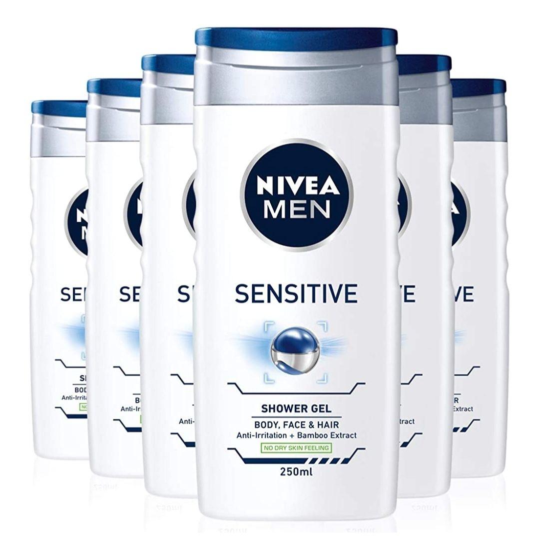 Nivea sensitive men's shower gel 6x250ml £5.70 prime / £10.19 non prime at Amazon. £5.13 with S&S