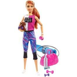 Barbie Wellness Fitness doll with weights, yoga mat, and puppy accessories for £13.99 delivered (mainland UK) @ BargainMax