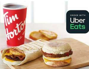 Breakfast Meal For £1.99 on Delivery at Tim Hortons (Delivery/order fees apply) @ Uber Eats