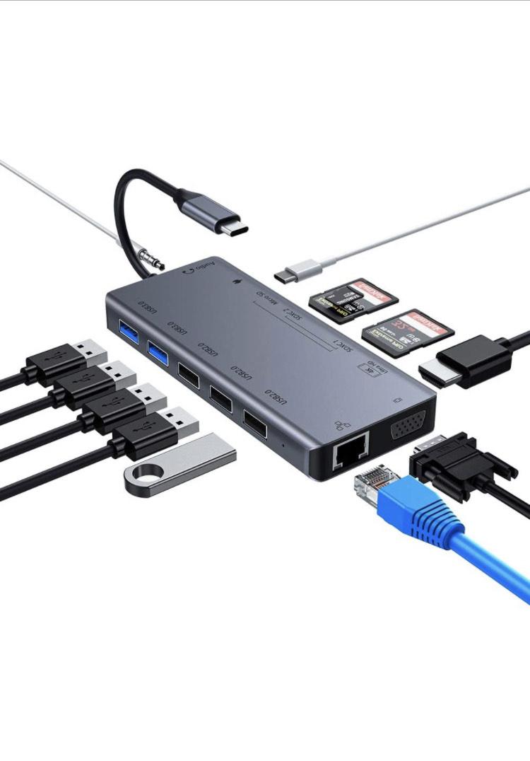 Byttron 13-in-1 USB-C Hub - Ethernet, VGA, 4K HDMI, USB 2.0/3.0, Card Reader, Audio, PD - £33.99 - Sold by Larera / FBA @ Amazon