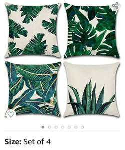 MIULEE Pack of 4 Tropical Leaves Series Linen Cushion covers - £7.48 prime or £11.96 Non-Prime - Sold by MIULEE HOME / Fulfilled by Amazon