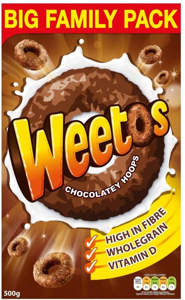 Weetabix Weetos Chocolatey Hoops, 500g £2.13 @ Amazon (£4.49 p&p non prime) £1.81/£2.02 s&s