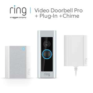 Ring Video Doorbell Pro with Plug-In Adapter and Ring Chime, 1080p HD, Two-Way Talk, Wi-Fi, £129 (UK Mainland) Sold by Amazon EU @ Amazon