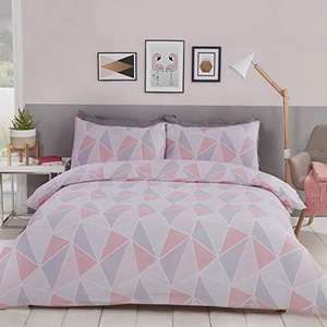 MyHome Geometric Double Duvet Quilt Cover Bedding Set Pink/Grey £9.58 (Prime) + £4.49 (non Prime) at Amazon