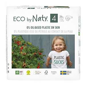 Eco by Naty Baby Nappies, Size 4, 26 Ct, Plant-based with 0% Oil Plastic on Skin £2.70 / £2.57 S&S (Prime) + £4.49 (non Prime) at Amazon
