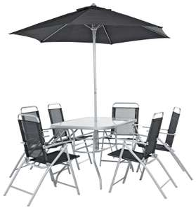Argos Pacific 6 Seater Metal Garden Table Patio Set - Black & Silver £150 - click and collect (limited stock) at Argos