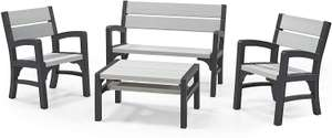 Keter Montero Wood Look 4-Seater Outdoor Garden Furniture Lounge Set, Soft Grey - £299.99 @ Amazon