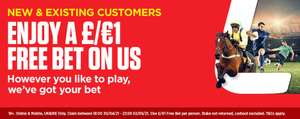 £1 Free Bet this weekend - 18:00 Friday 30th April until 23:59 Sunday 2nd May 2021 at Ladbrokes