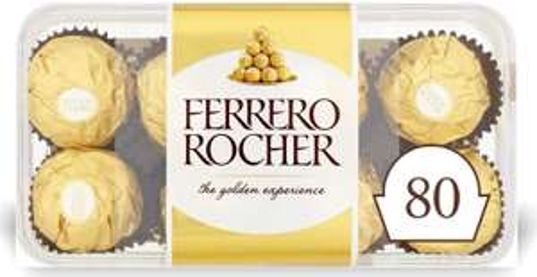 Ferrero Rocher Chocolate 5 x16 packs , 80 Chocolate Pieces £14.91 prime / £19.40 non prime @ Amazon (£12.67/£14.17 s&s)