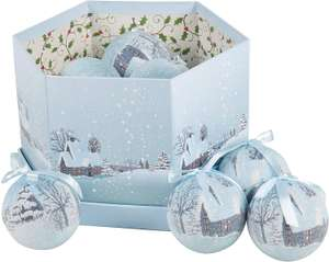 The Christmas Workshop 82780 14-Pack Frosted Snow Village Design Decoupage Baubles @ Amazon