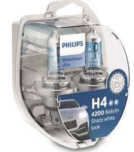 Philips 12V H4 WhiteVision ultra +60% Brighter Upgrade - twin pack - £1.99 + Free click and collect / £3.95 Delivery @ Euro Car Parts