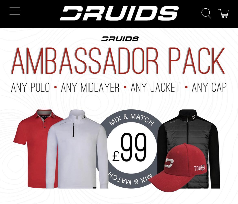 Ambassador Pack - Polo, Mid-layer, Jacket + Cap Bundle £99 + £6.99 delivery @ Druids Golf