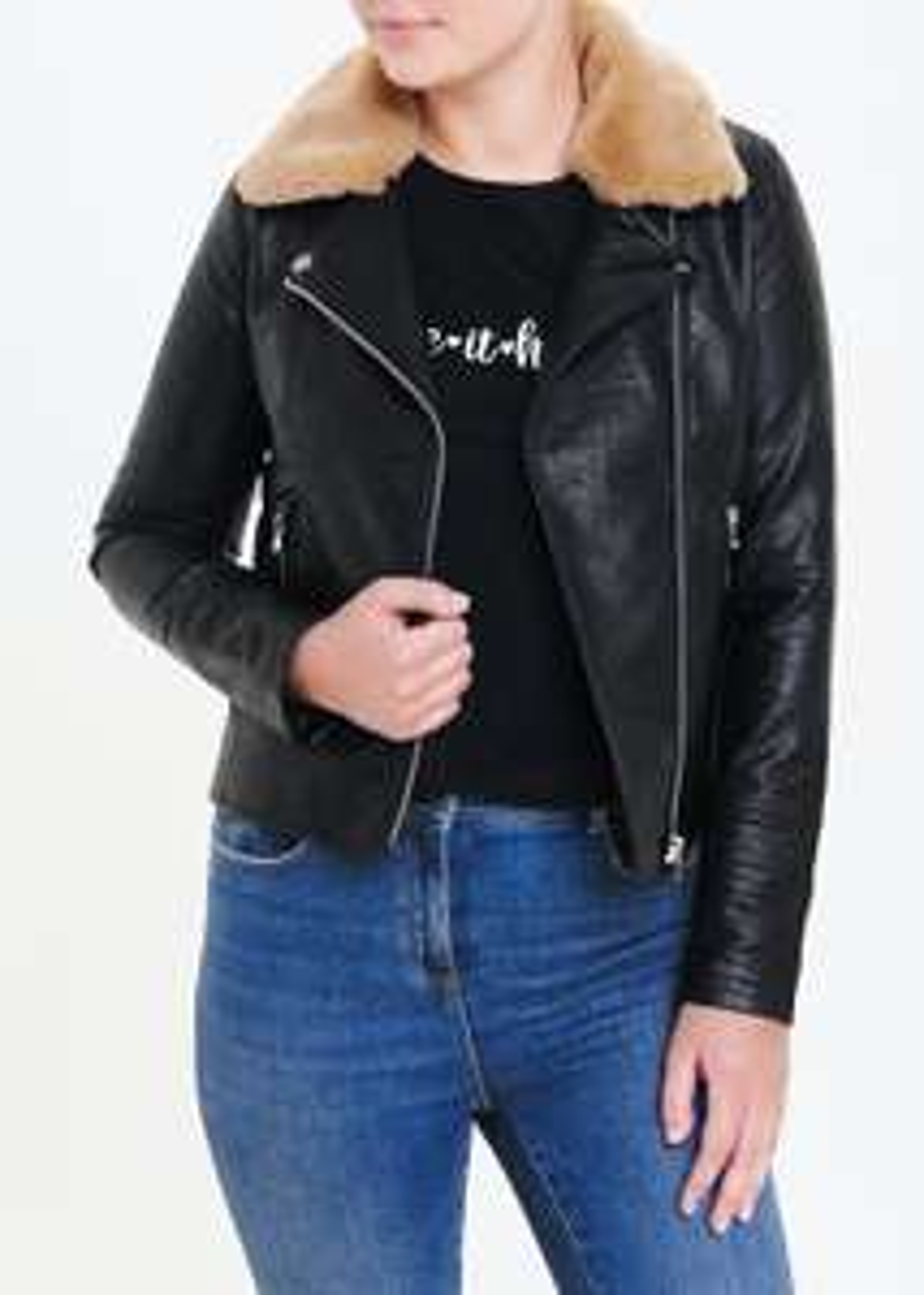 Black Faux Fur Collar Biker Jacket With detachable collar - £17 - Free click & Collect @ Matalan