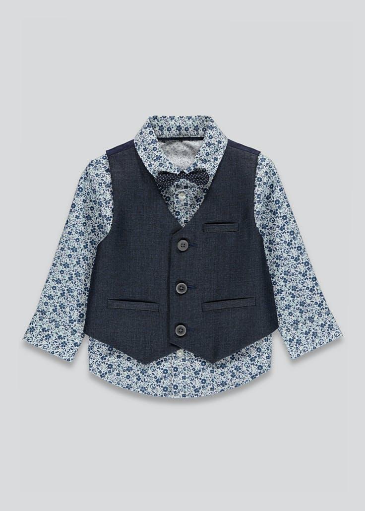 Boys 3 Piece Set : Shirt, Waistcoat & Bow Tie Age 9-12 Mths £4 / 18-23 Mths - £5 ( + Free Click & Collect ) @ Matalan