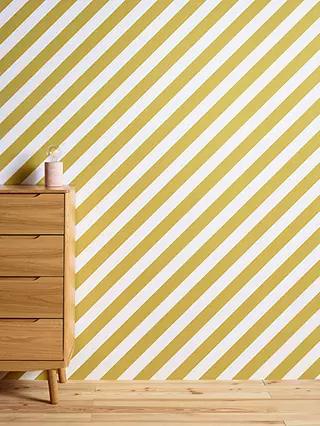 John Lewis Wallpaper, Yellow Diagonal Stripe Wallpaper - £15 (+£3.50 Delivery) @ John Lewis & Partners