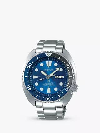 Seiko SRPD21K1 Men's Prospex Divers Automatic Day Date Bracelet Strap Watch, Silver/Blue - £344 @ John Lewis