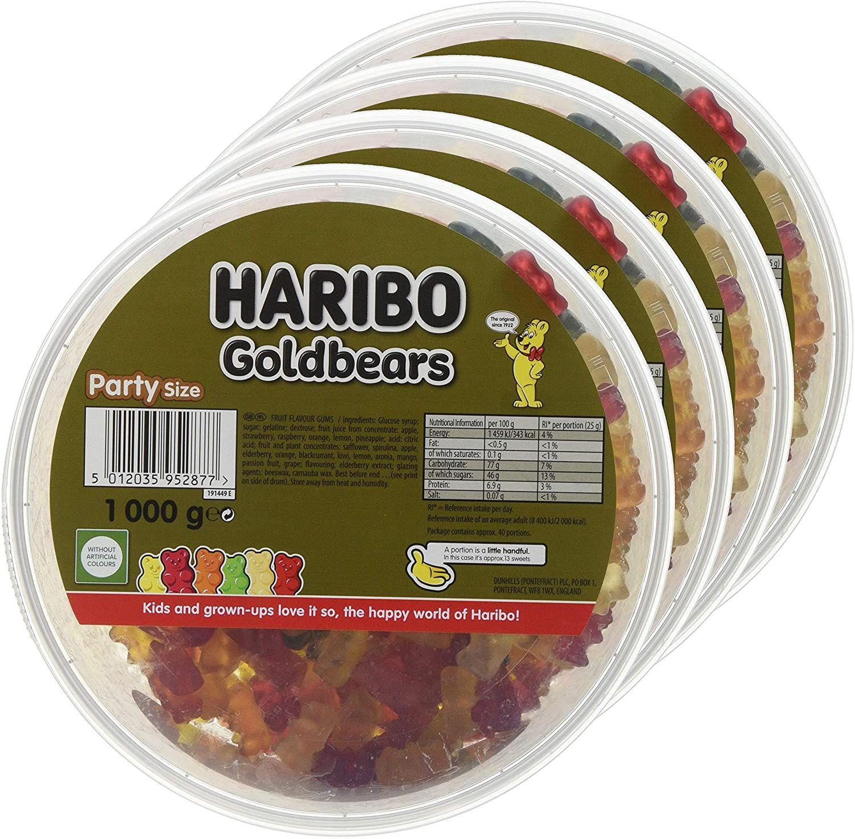 Haribo Gold Bears, Gummy Bear Bulk Sweets 4kg (4 x 1kg tubs) £14.83 @ Amazon (£4.49 p&p non prime) £12.61/£14.09 s&s NSFV