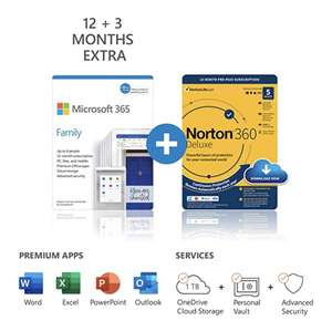 Microsoft Office 365 Family 6 Users 15 months + 5 users Norton 360 Deluxe 15 months or 6 users McAfee 12 months £54.54 @ Amazon