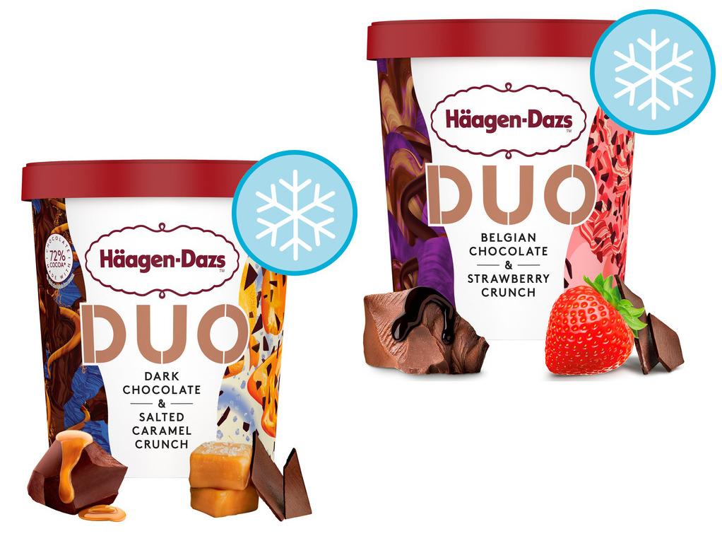 Haagen Dazs Dark Chocolate & Salted Caramel Crunch or Belgian Chocolate & Strawberry Duo Ice Cream (420ml) - £3 each (Clubcard) @ Tesco