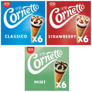 Cornetto 6 Strawberry or 6 Classico or 6 Mint Ice Cream Cones - £1.50 each (Clubcard Price) Minimum Basket / Delivery Fee Applies @ Tesco