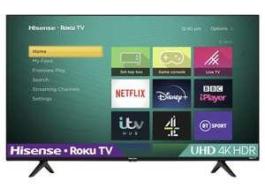 "Hisense Roku 43 Inch £279 R43A7200UK Smart 4K HDR LED Freeview TV922/9909 / 50''- £349 / 65""- £499 at Argos free Click & Collect"