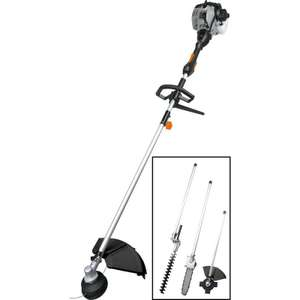 "Bauker 30cc 4-in-1 Petrol Multi Tool SBC30 - grass trimmer, brush cutter, hedge cutter and 10"" chainsaw attachments £119.98 at Toolstation"