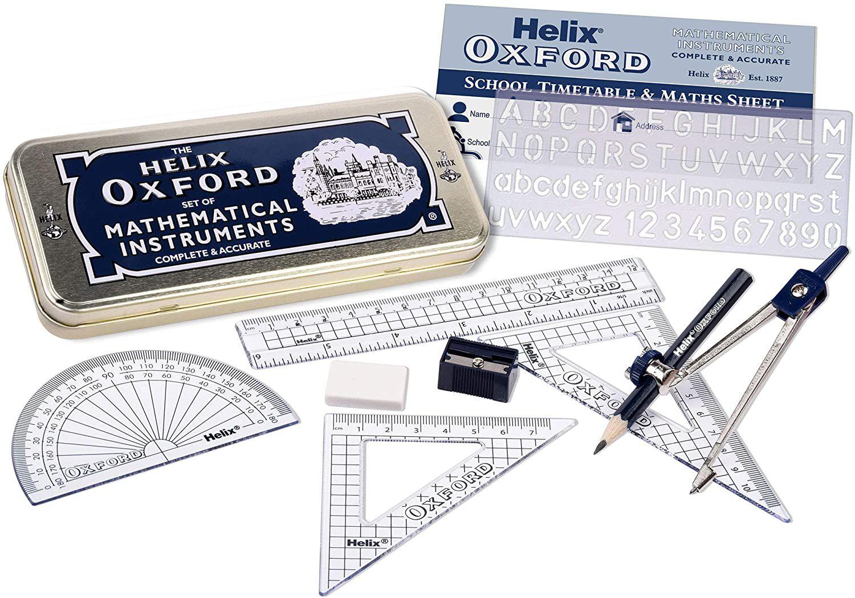 Oxford Helix Maths Set with Storage Tin Oxford blue £2.49 (£4.49 p&p non prime) @ Amazon