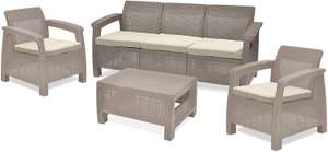 Keter Corfu 5 Seater Rattan Garden Furniture Cappuccino with Cream Cushion - £299.99 @ Amazon