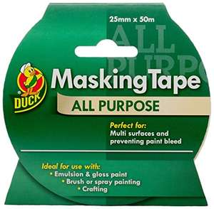 Duck Masking Tape 50m Roll - £3.24 prime / £7.73 nonPrime at Amazon