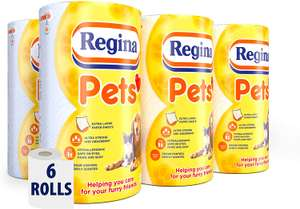 Regina Pets Towel Roll | 6 Rolls | 432 Supersized and Absorbent Sheets - £13 (+£4.49 Non Prime) @ Amazon