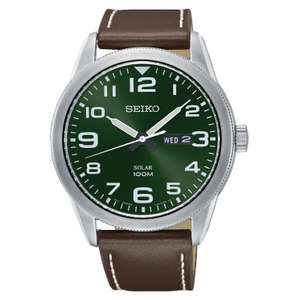 Seiko Men's SOLAR Green Dial Brown Leather Strap day/date watch, now just £67.20 with code in H Samuel's sale