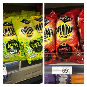 Jacobs mini cheddars chilli & lime / hot chipotle chicken 6 placket for 69p at Farmfoods (Chorley)