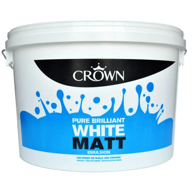 Crown Pure Brilliant White - Matt Emulsion Paint - 10L 2 for £20 at Homebase