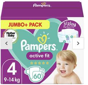 Pampers Active Fit Nappies Size 4, 9kg-14kg, Jumbo+ Pack (More sizes available) £5.99 (Minimum Basket / Delivery Fee Applies) at Morrisons