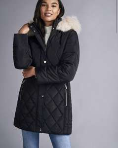 Petites Black Long Luxe Quilted Coat for £20 (£3.99 delivery) at Dorothy Perkins