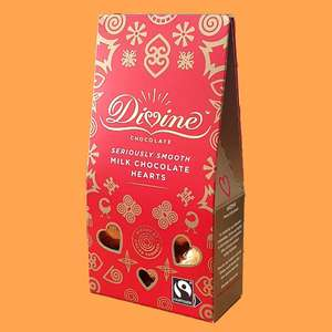 Divine fairtrade seriously smooth milk chocolate hearts 80g gift box £1 - Best Before End April 2021 @ Yankee Bundles