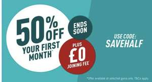 Puregym - 50% Off Your First Month Gym Membership With £0 Joining Fee